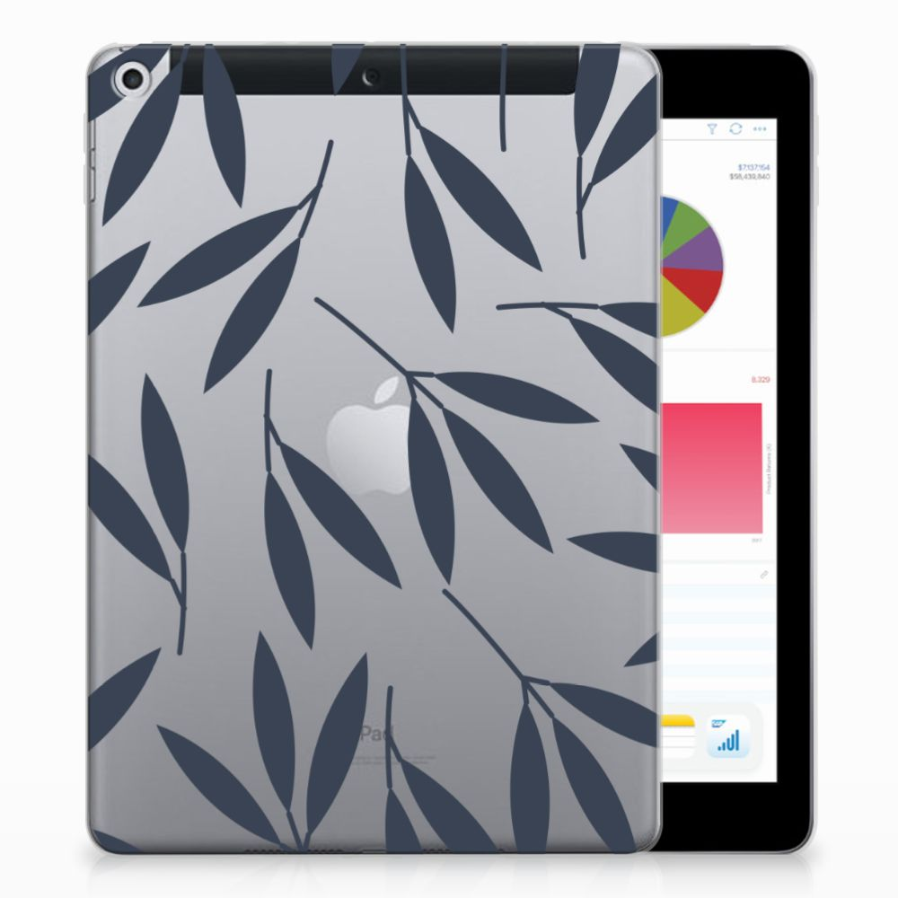 Apple iPad 9.7 2018 | 2017 Tablethoesje Design Leaves Blue
