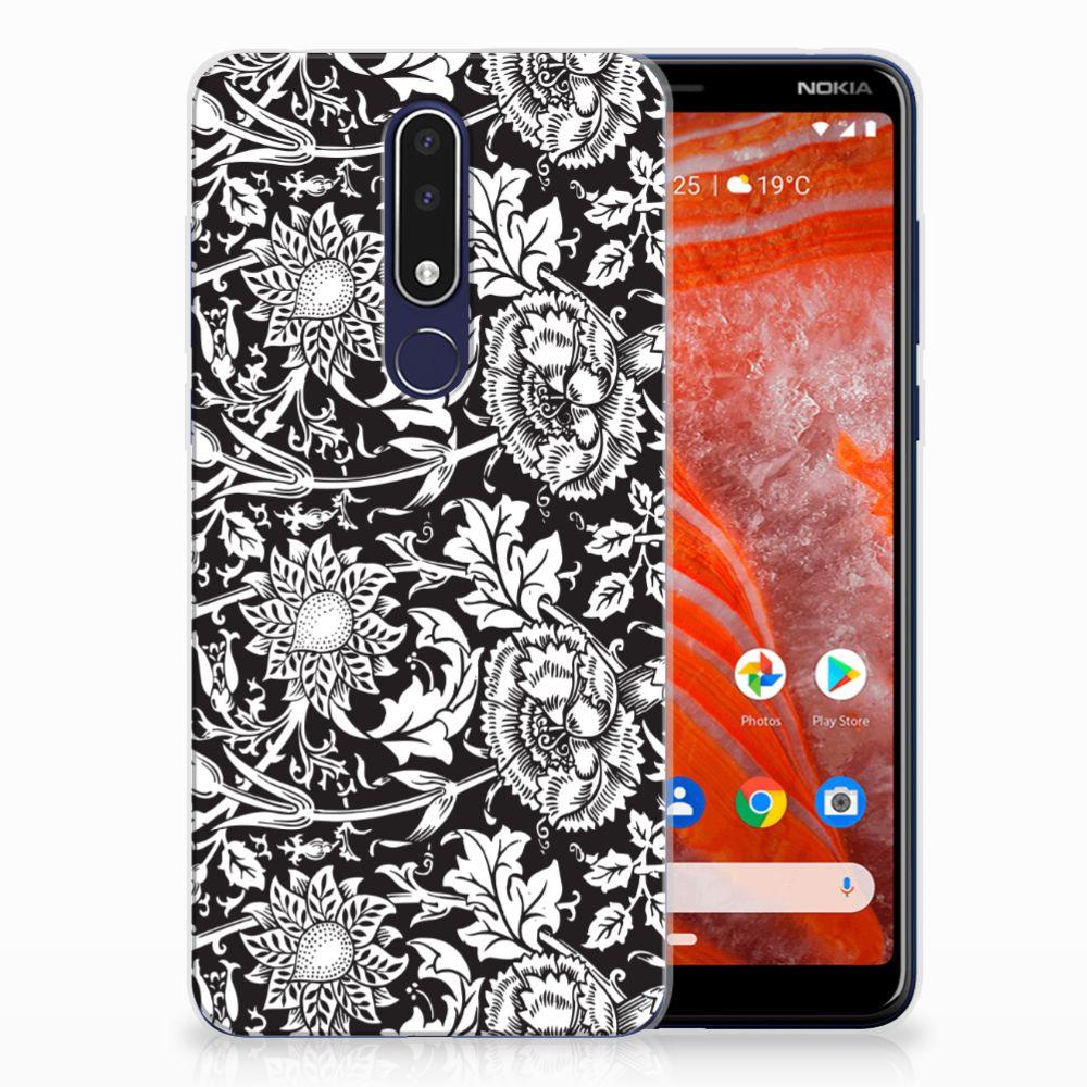 Nokia 3.1 Plus TPU Case Black Flowers
