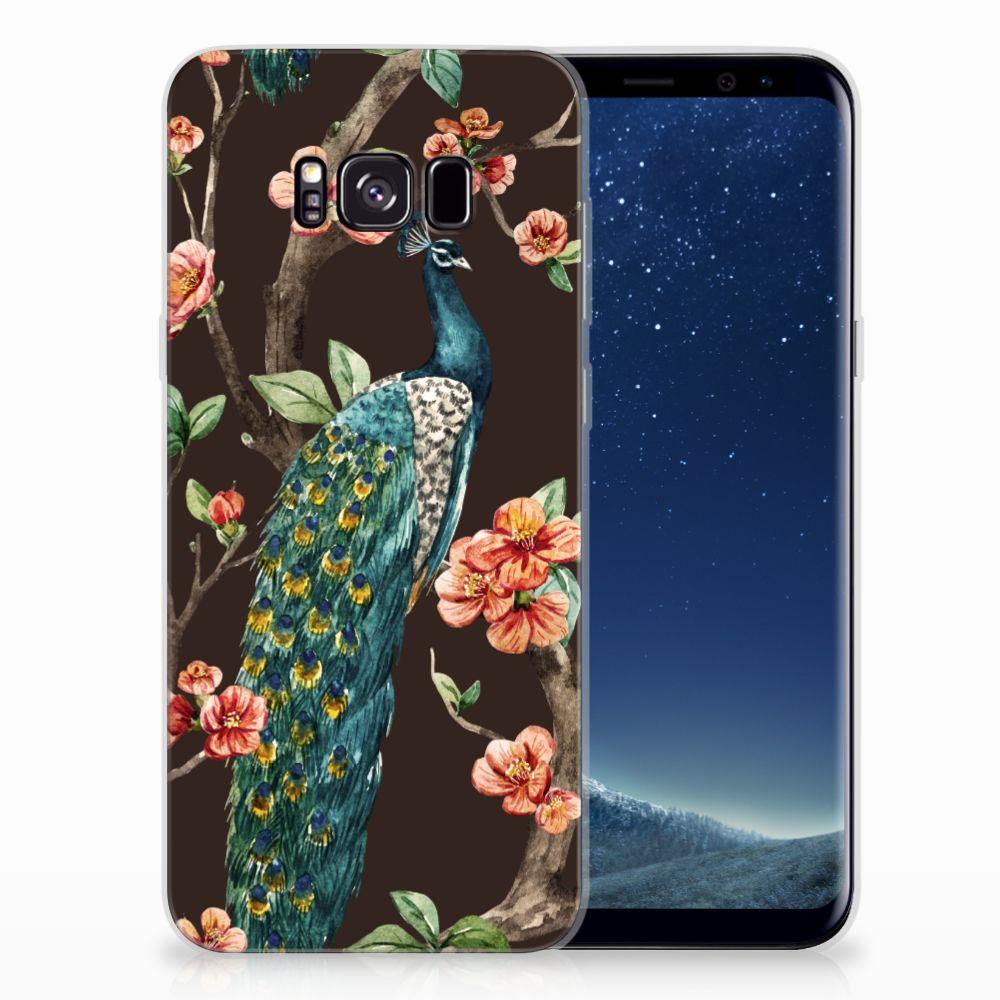 Samsung Galaxy S8 Plus TPU Hoesje Pauw met Bloemen