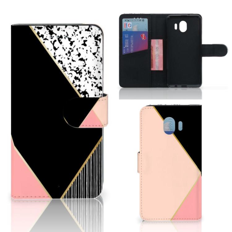 Samsung Galaxy J4 2018 Bookcase Zwart Roze Vormen