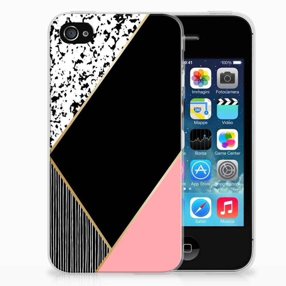 Apple iPhone 4 | 4s TPU Hoesje Zwart Roze Vormen