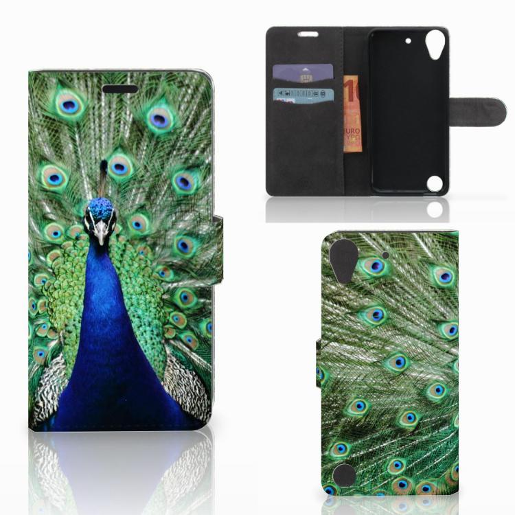 HTC Desire 530 Telefoonhoesje met Pasjes Pauw