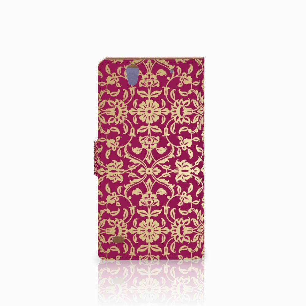 Wallet Case Sony Xperia C4 Barok Pink