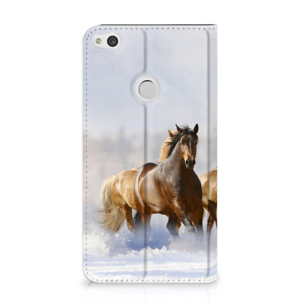 Huawei P8 Lite 2017 Uniek Standcase Hoesje Paarden