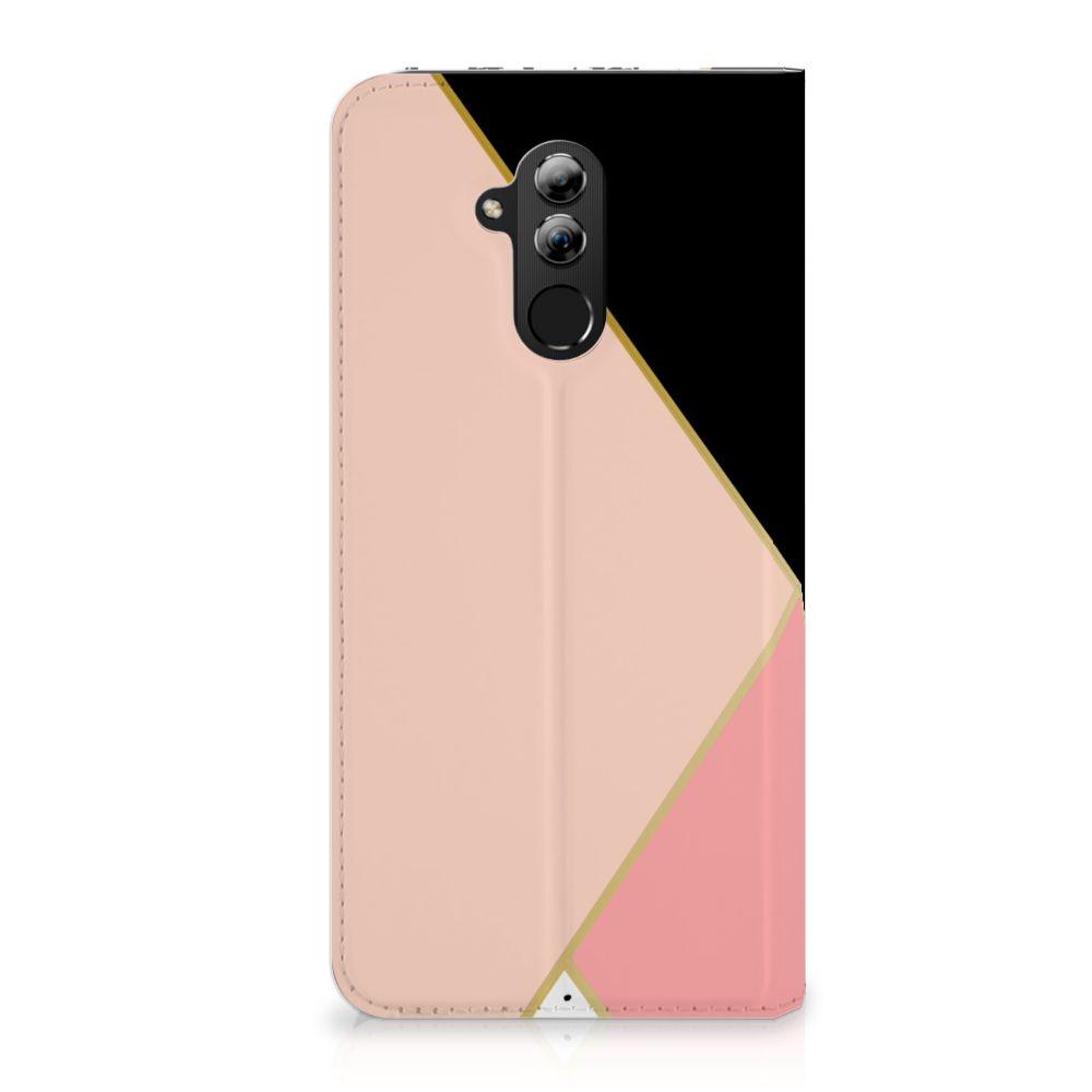 Huawei Mate 20 Lite Uniek Standcase Hoesje Black Pink Shapes
