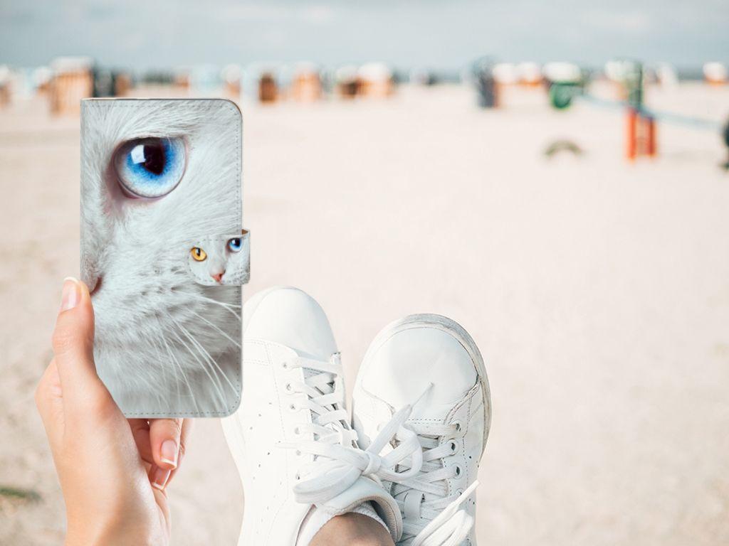 Google Pixel XL Telefoonhoesje met Pasjes Witte Kat