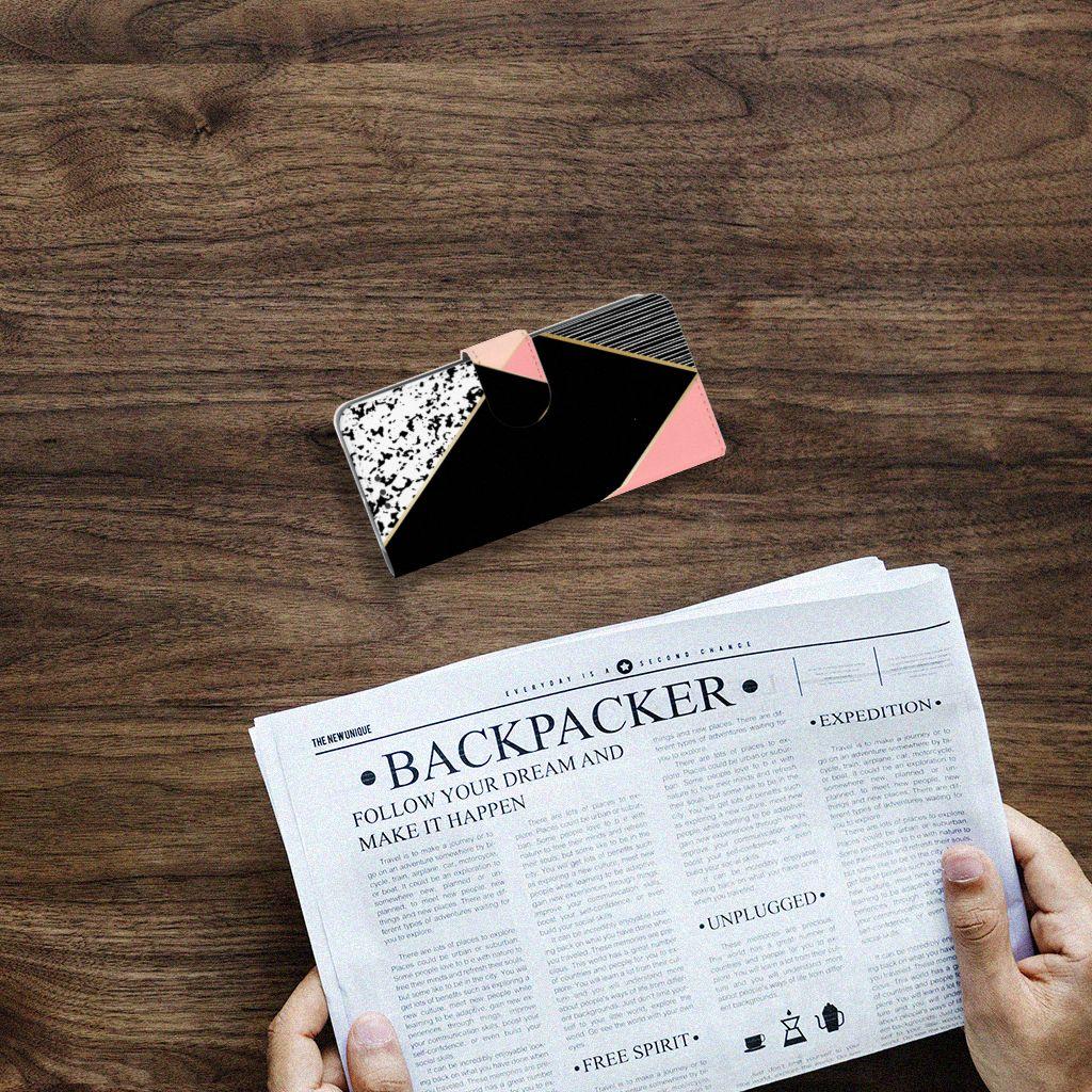 HTC U11 Life Bookcase Zwart Roze Vormen