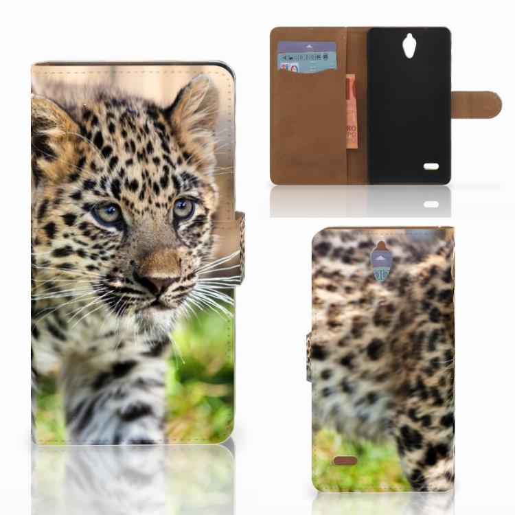 Huawei Ascend G700 Telefoonhoesje met Pasjes Baby Luipaard