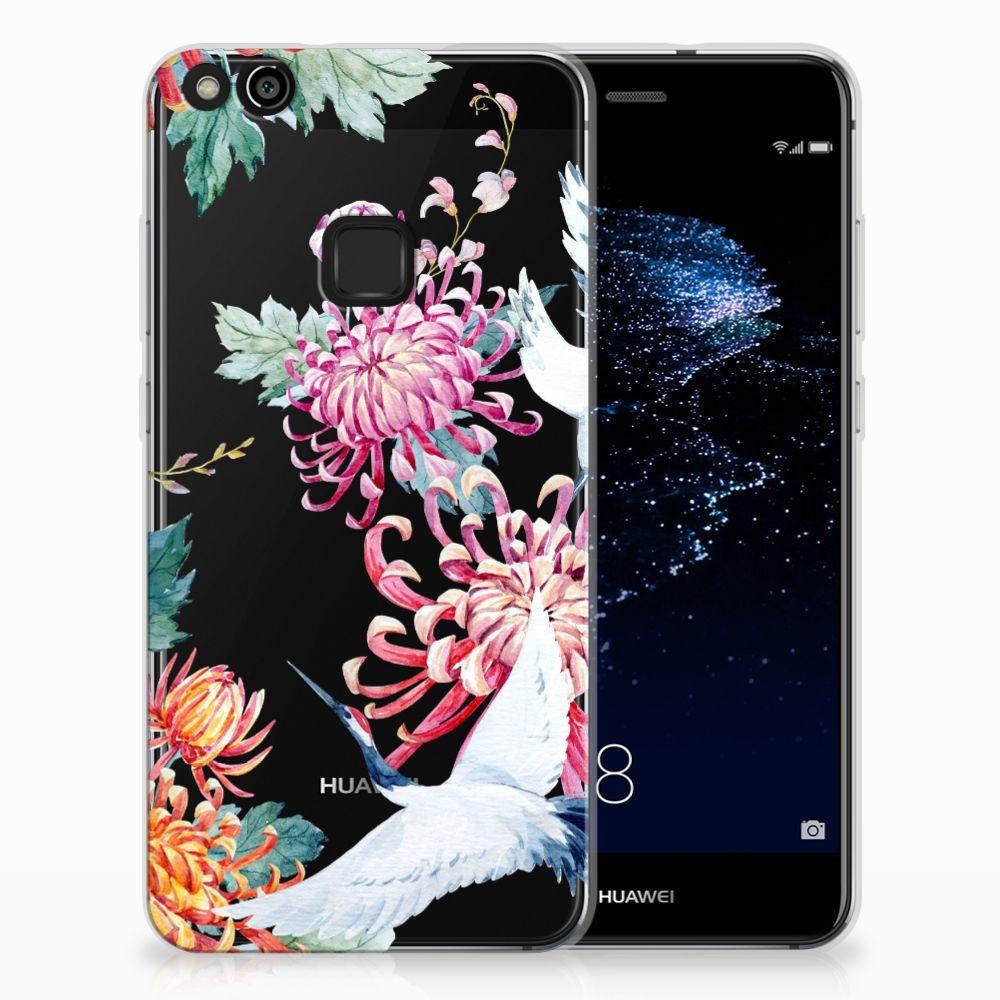 Huawei P10 Lite Uniek TPU Hoesje Bird Flowers
