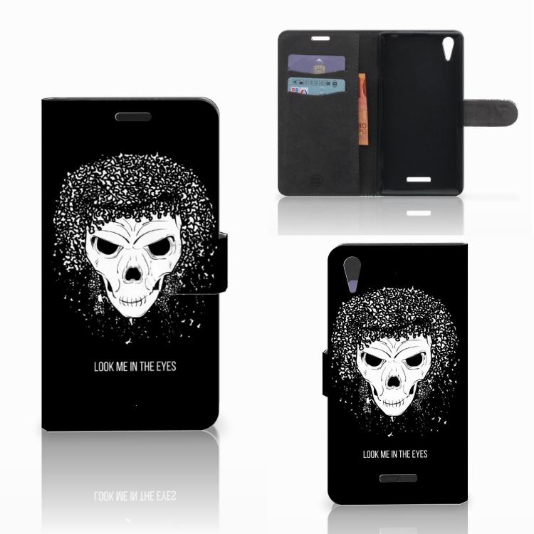 Telefoonhoesje met Naam Sony Xperia T3 Skull Hair