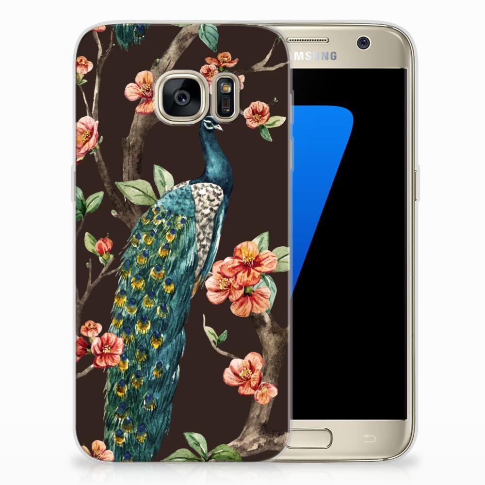 Samsung Galaxy S7 TPU Hoesje Design Pauw met Bloemen