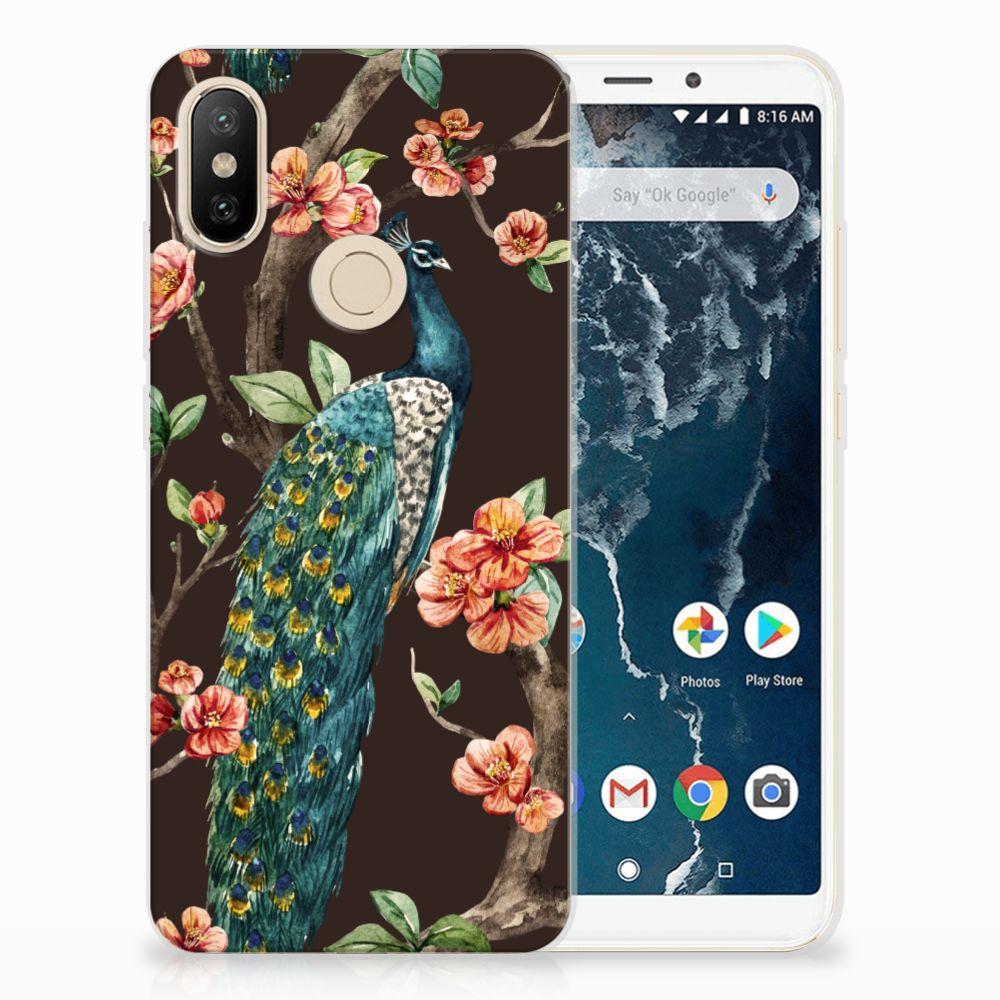 Xiaomi Mi A2 TPU Hoesje Pauw met Bloemen