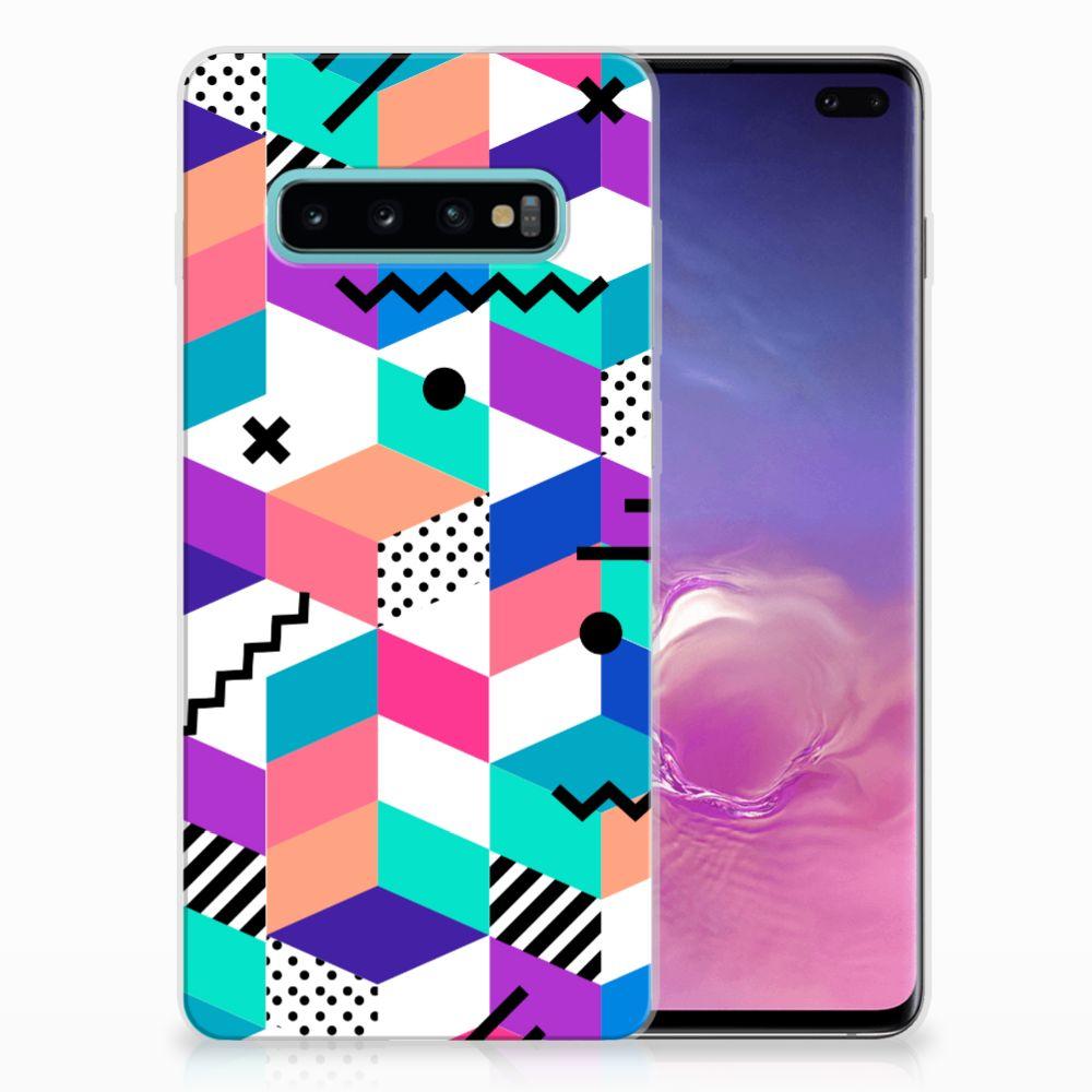 Samsung Galaxy S10 Plus TPU Hoesje Blokken Kleurrijk