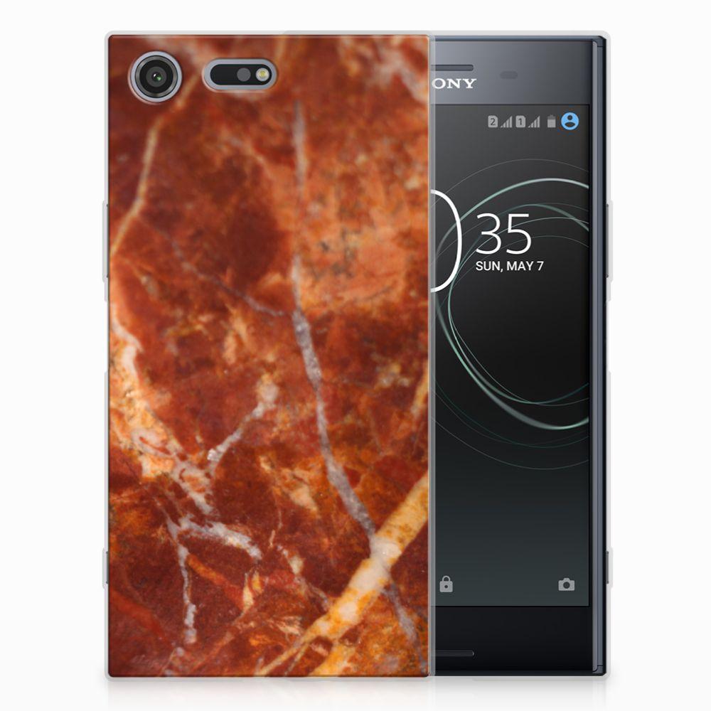 Sony Xperia XZ Premium TPU Siliconen Hoesje Marmer Bruin