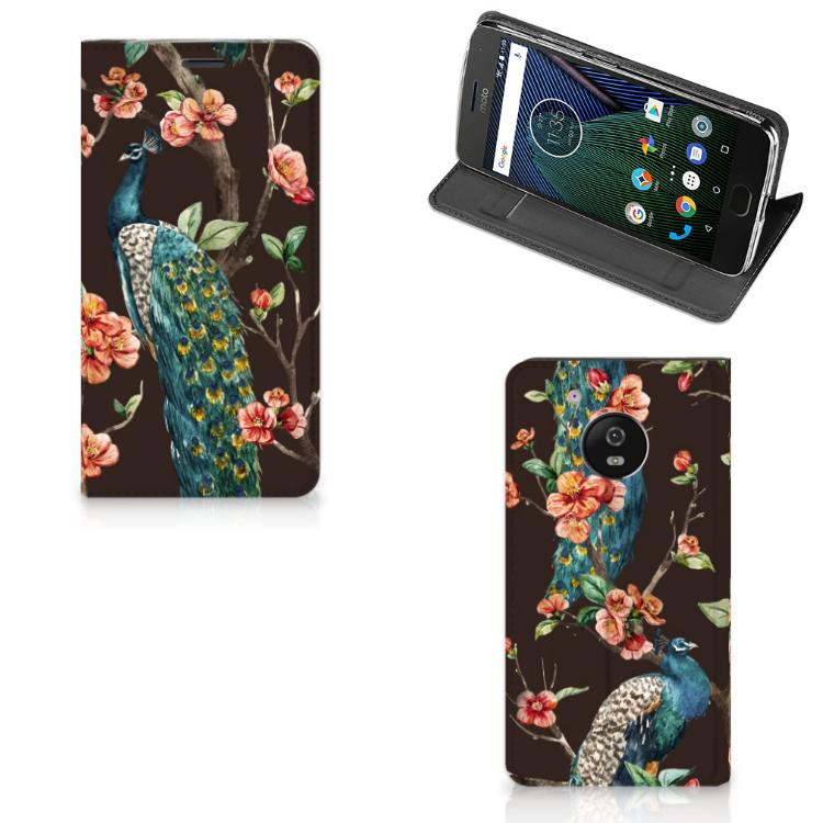 Motorola Moto G5 Hoesje maken Pauw met Bloemen