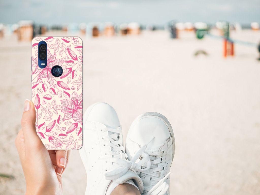 Motorola One Vision TPU Case Pink Flowers