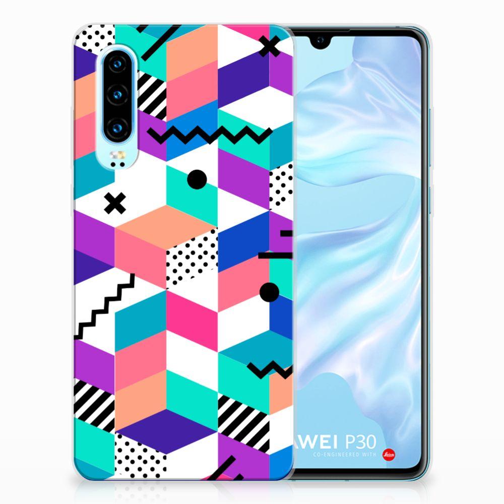 Huawei P30 TPU Hoesje Blokken Kleurrijk