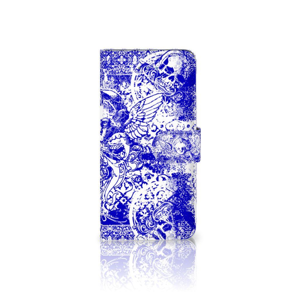 Telefoonhoesje met Naam Honor 4A | Y6 Angel Skull Blauw