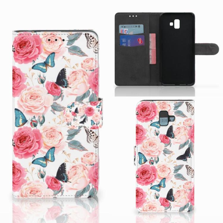 Samsung Galaxy J6 Plus (2018) Hoesje Butterfly Roses