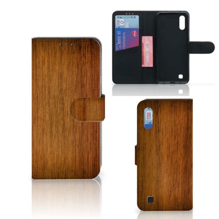 Samsung Galaxy M10 Book Style Case Donker Hout
