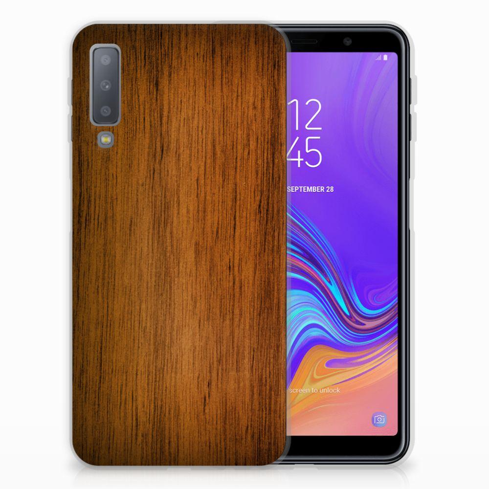 Samsung Galaxy A7 (2018) Bumper Hoesje Donker Hout