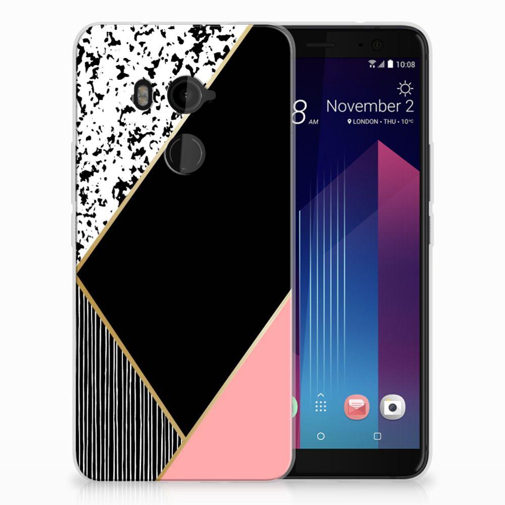 HTC U11 Plus TPU Hoesje Zwart Roze Vormen