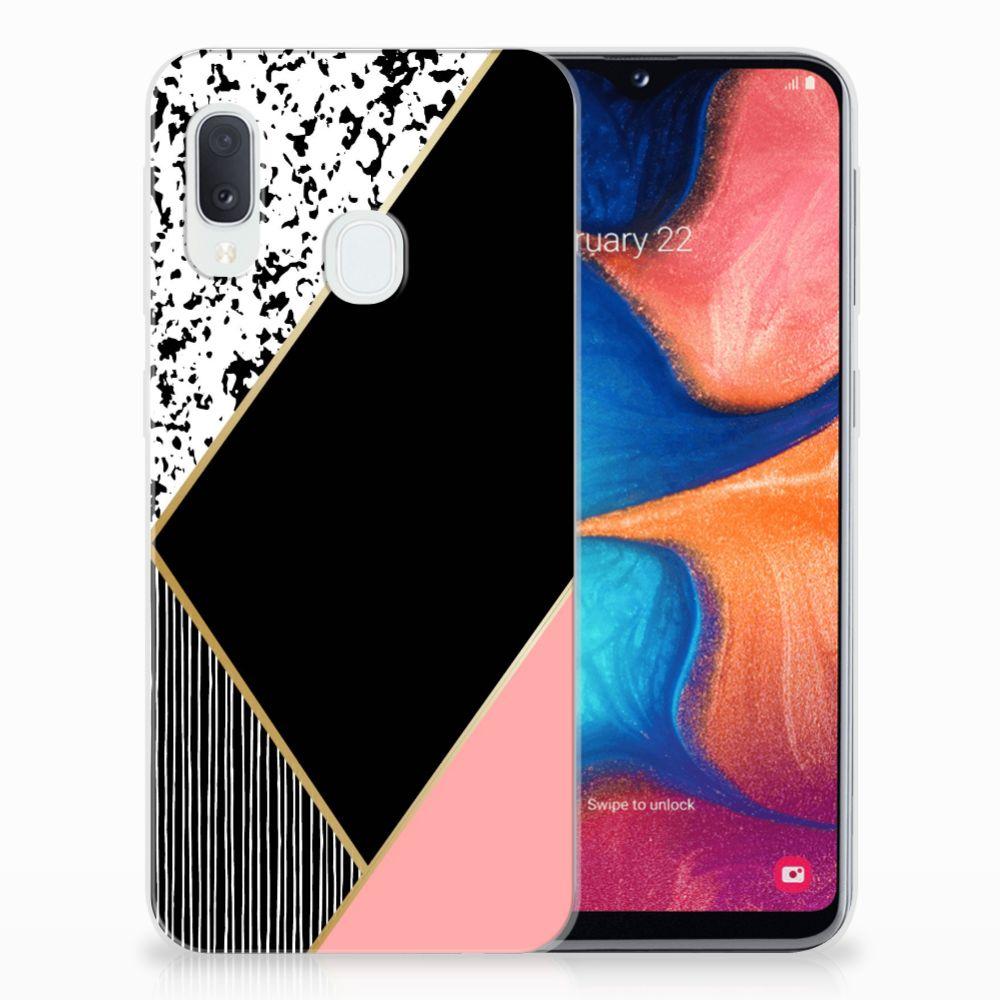 Samsung Galaxy A20e TPU Hoesje Zwart Roze Vormen