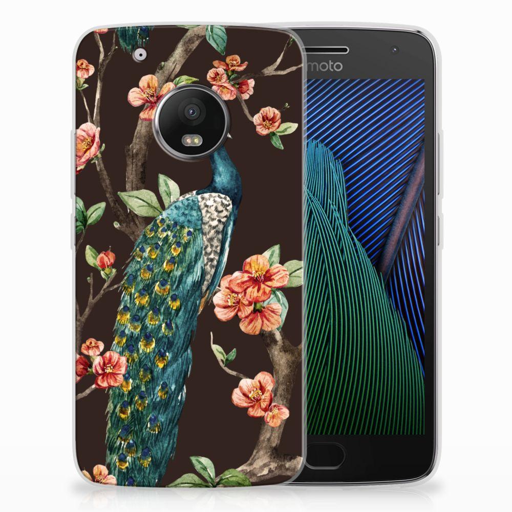 Motorola Moto G5 Plus TPU Hoesje Design Pauw met Bloemen
