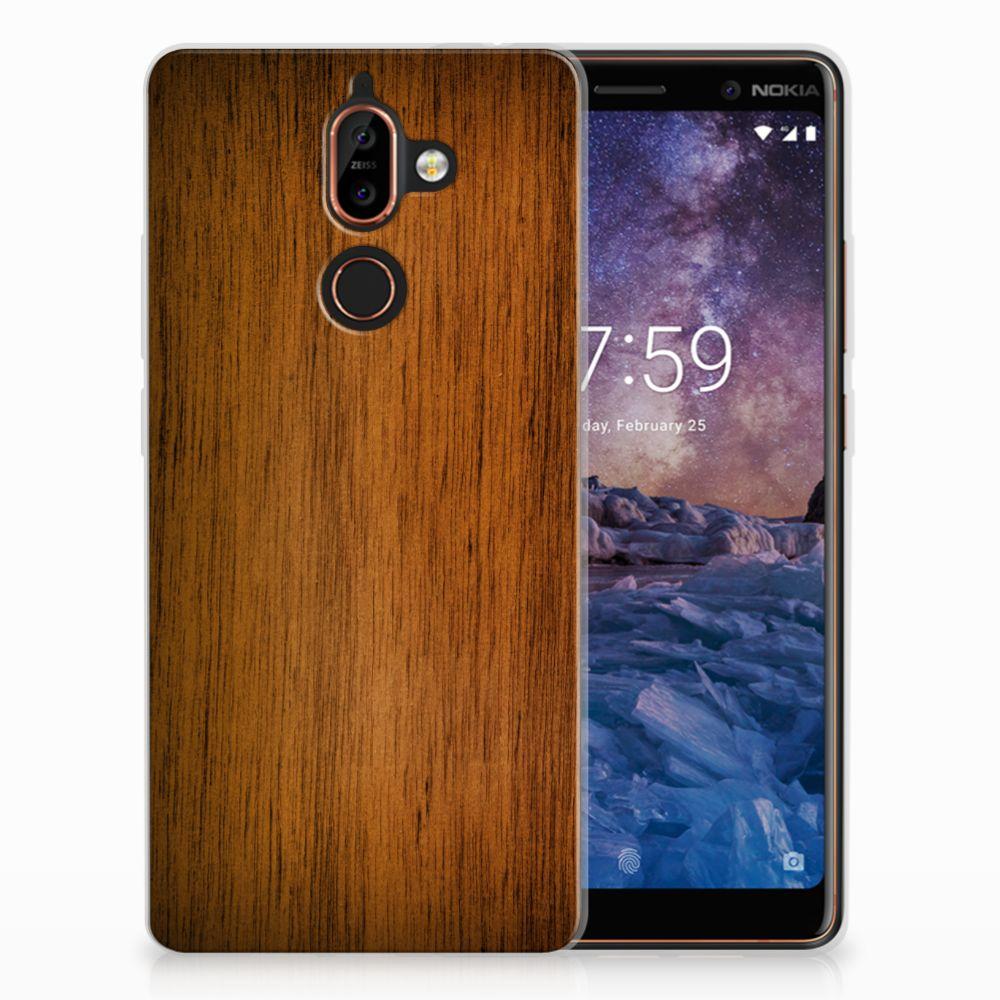 Nokia 7 Plus Uniek TPU Hoesje Donker Hout