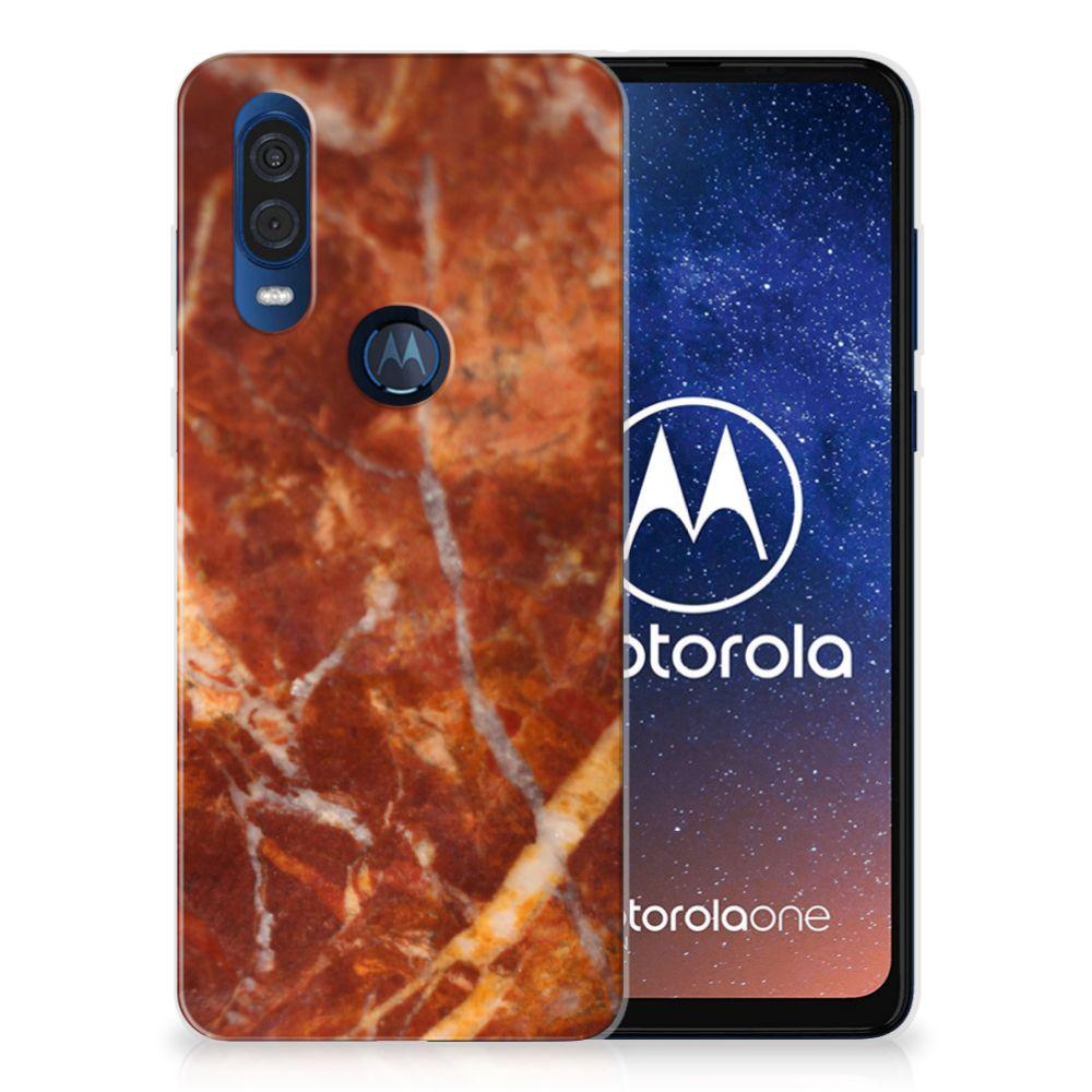 Motorola One Vision TPU Siliconen Hoesje Marmer Bruin