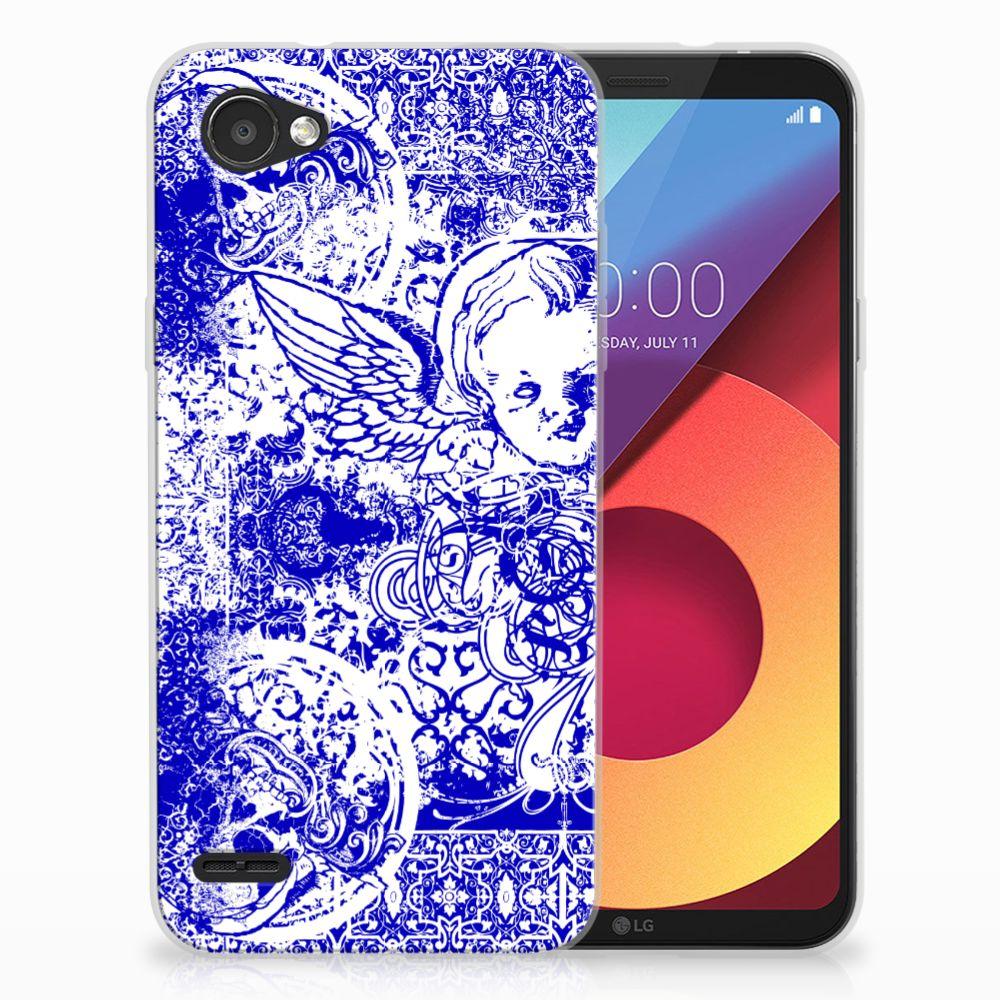 Silicone Back Case LG Q6   LG Q6 Plus Angel Skull Blauw