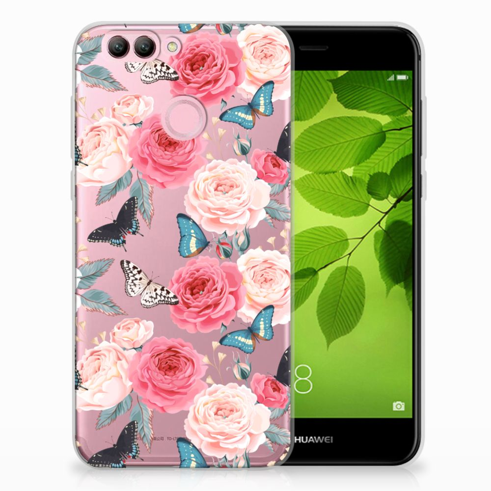 Huawei Nova 2 Uniek TPU Hoesje Butterfly Roses