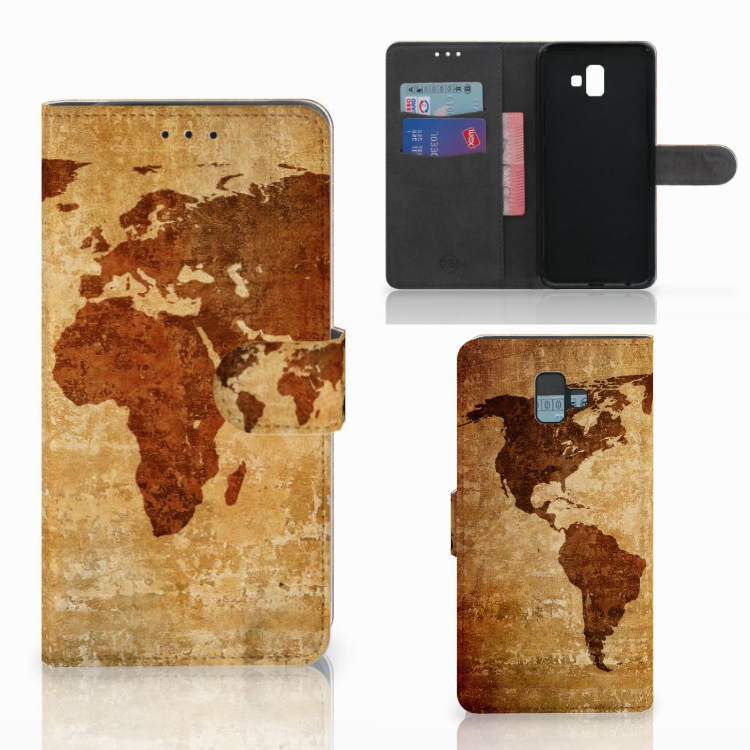 Samsung Galaxy J6 Plus (2018) Flip Cover Wereldkaart