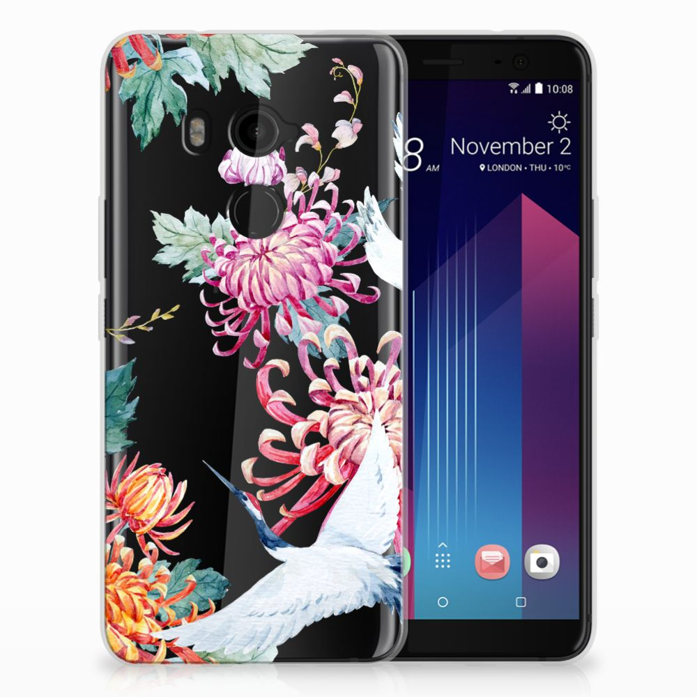 HTC U11 Plus Uniek TPU Hoesje Bird Flowers