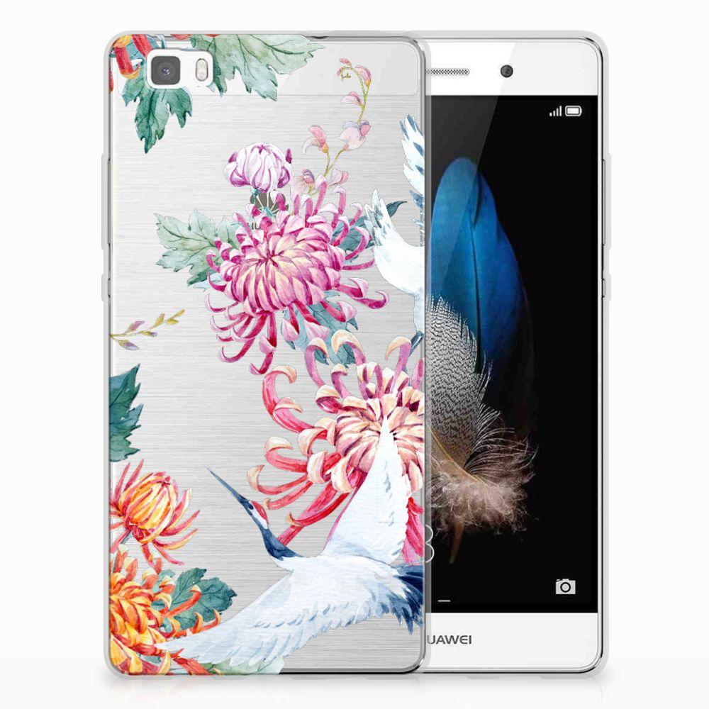 Huawei Ascend P8 Lite TPU Hoesje Bird Flowers