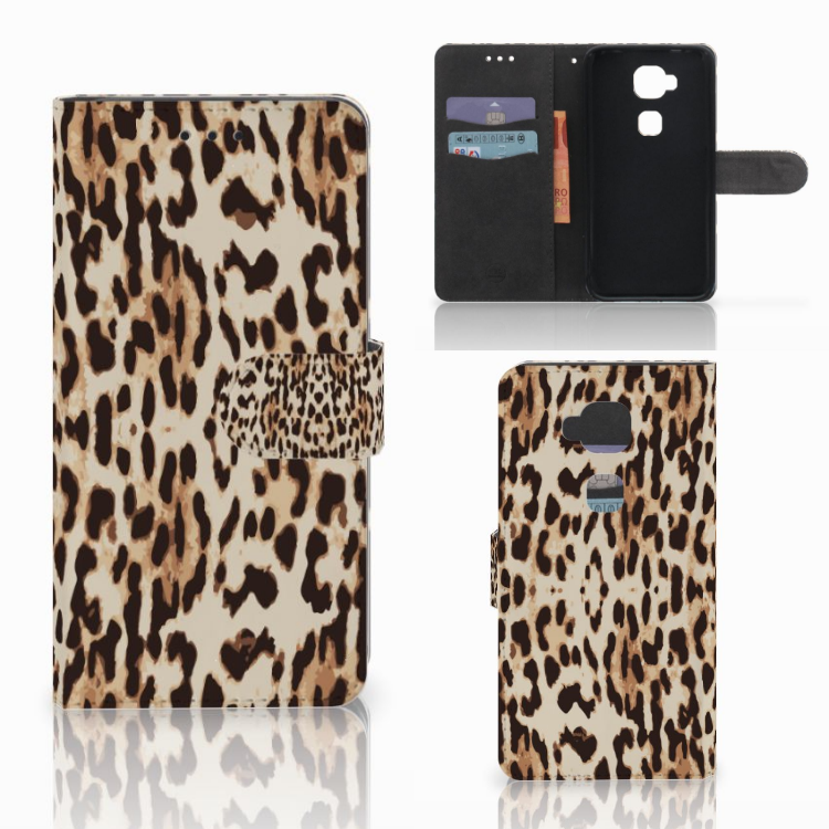 Huawei G8 Telefoonhoesje met Pasjes Leopard
