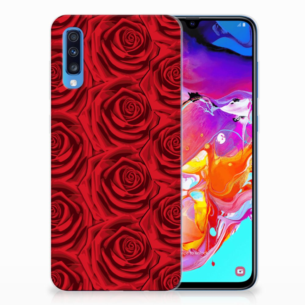 Samsung Galaxy A70 Uniek TPU Hoesje Red Roses