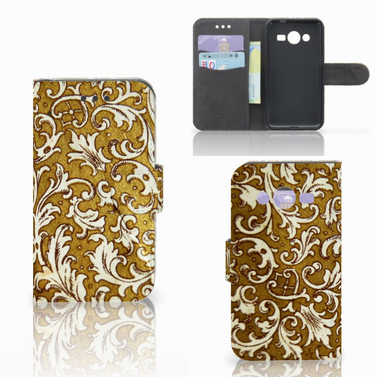 Wallet Case Samsung Galaxy Core 2 Barok Goud