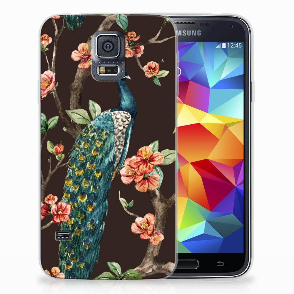 Samsung Galaxy S5 TPU Hoesje Design Pauw met Bloemen