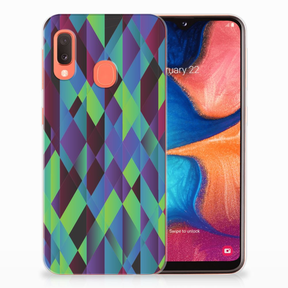 Samsung Galaxy A20e TPU Hoesje Abstract Green Blue