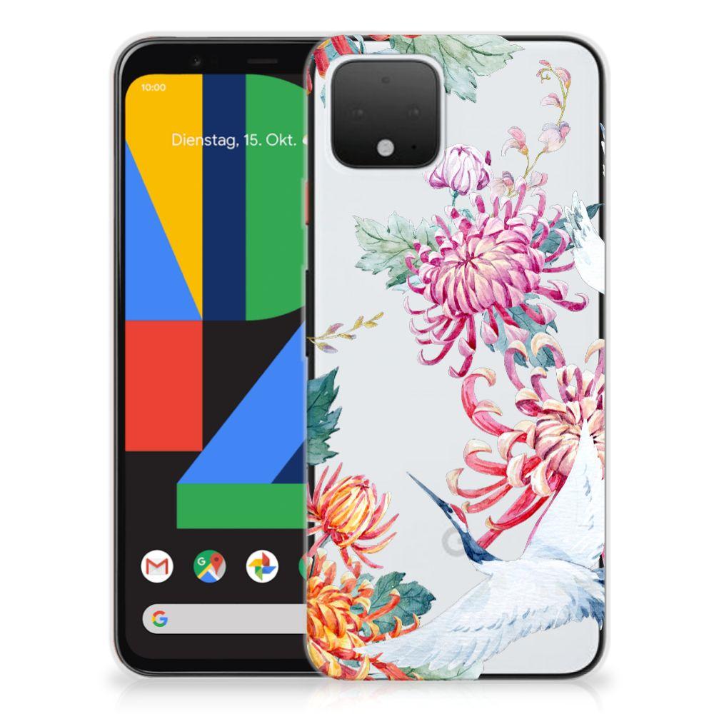 Google Pixel 4 TPU Hoesje Bird Flowers