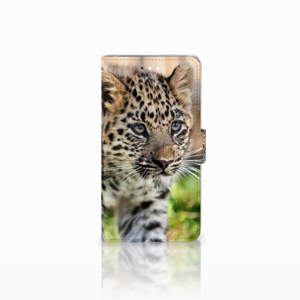 Huawei Ascend G7 Telefoonhoesje met Pasjes Baby Luipaard