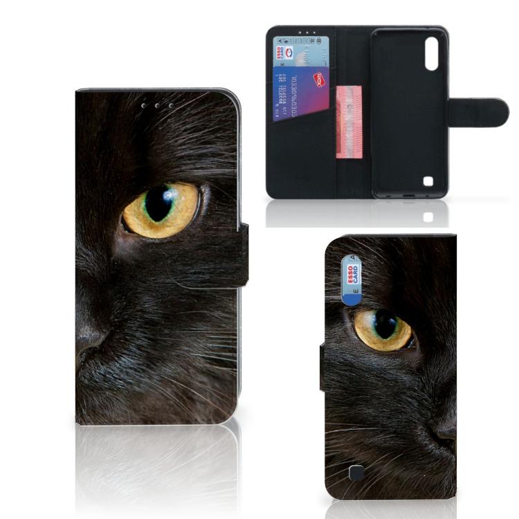 Samsung Galaxy M10 Telefoonhoesje met Pasjes Zwarte Kat