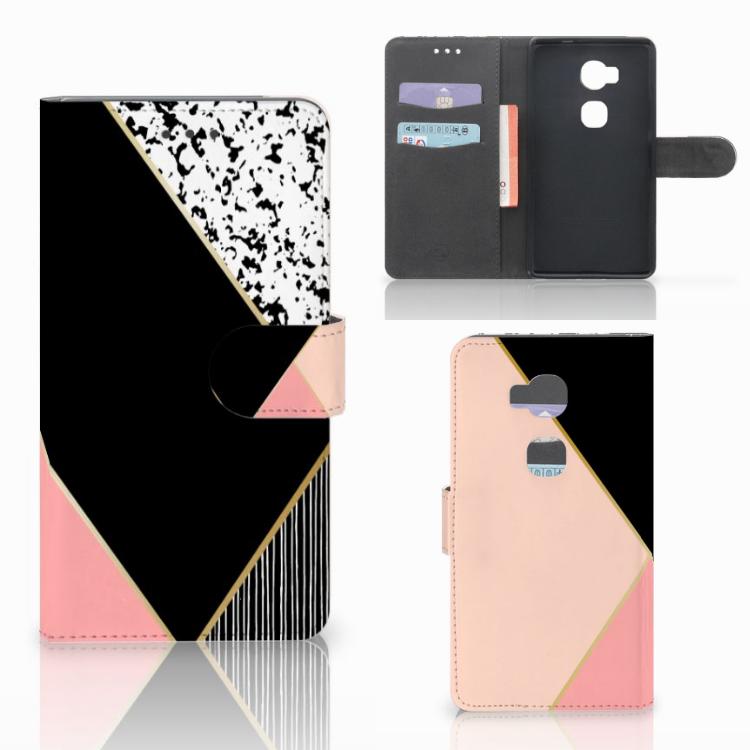 Huawei Honor 5X Bookcase Zwart Roze Vormen