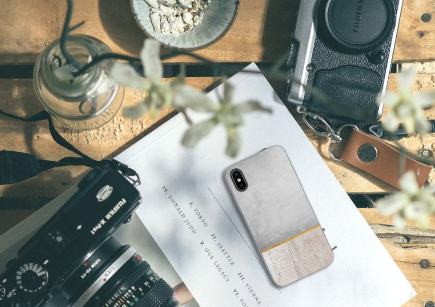 Apple iPhone X | Xs Bumper Hoesje Wood Concrete