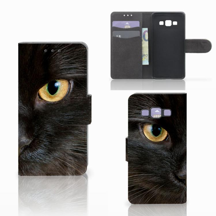 Samsung Galaxy A3 2015 Telefoonhoesje met Pasjes Zwarte Kat