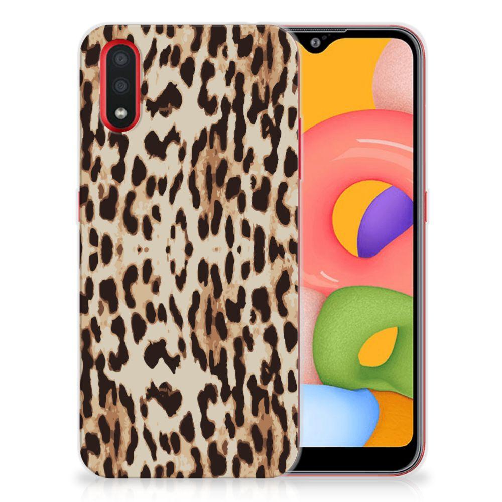 Samsung Galaxy A01 TPU Hoesje Leopard