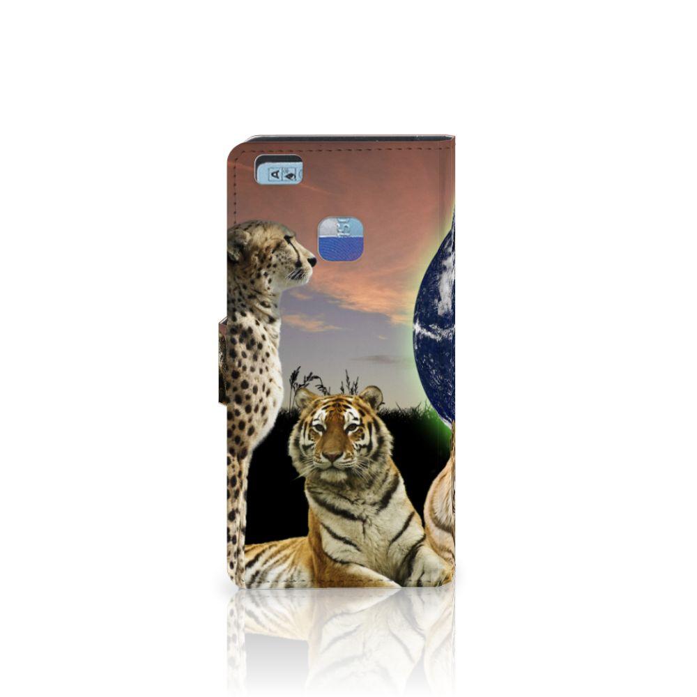 Huawei P9 Lite Telefoonhoesje met Pasjes Roofdieren