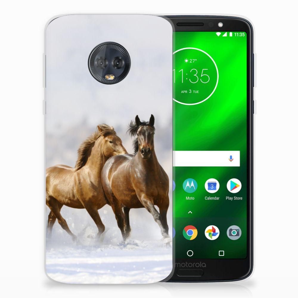 Motorola Moto G6 Plus Uniek TPU Hoesje Paarden