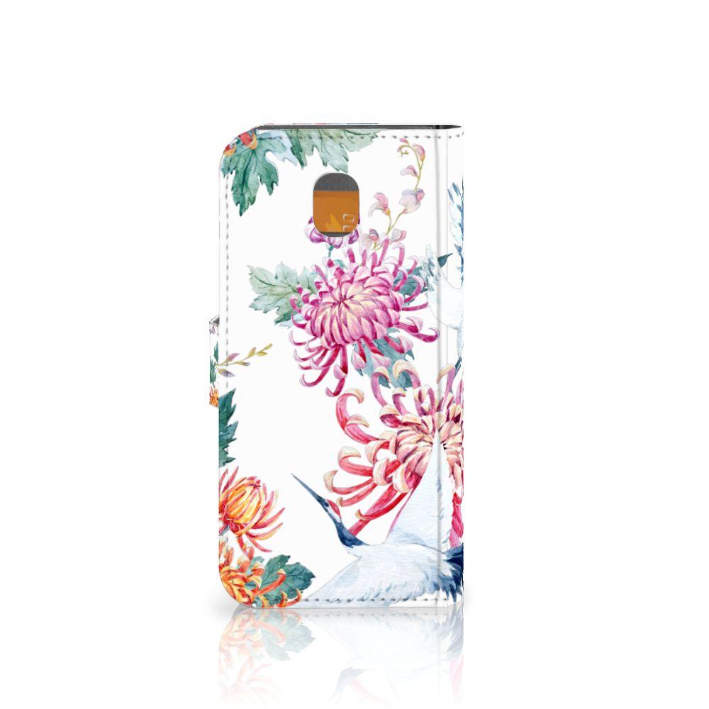 Samsung Galaxy J5 2017 Telefoonhoesje met Pasjes Bird Flowers